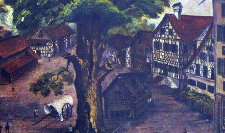 das Schulhaus um 1860 ganz rechts