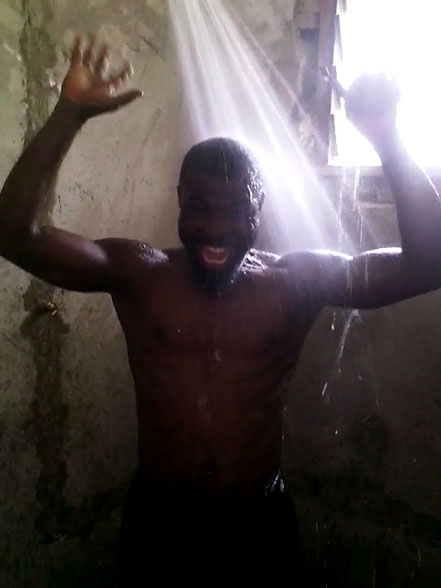Wahabu takes his first shower at CTE