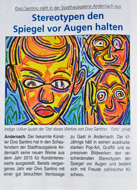 Pressebericht, Blick Aktuell, Krupp Verlag, Ausstellung Andernach, Divo Santino, Pop Art