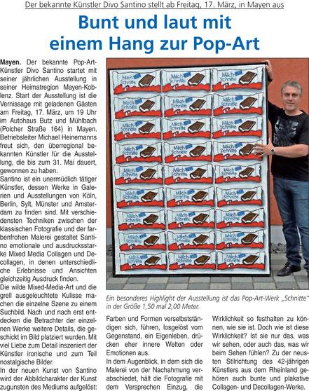 Bunt und laut mit einem Hang zur Pop Art, Divo Santino, Pressebericht, Zeitung, Blick Aktuell, Krupp Verlag