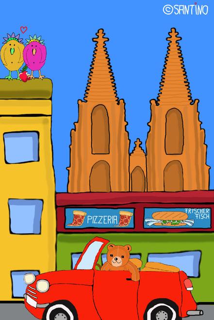 Uwe liebt es, mit seinem Cabrio durch die Kölner Innenstadt zu fahren...