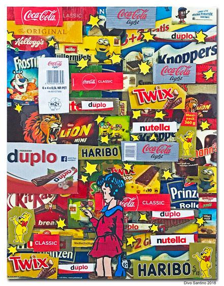 #collage #divosantino #2018 #twix #süssigkeiten #sweet #cocacola #haribo #nutella #knoppers #lion #prinzenrolle #duplo #kellogs #artwork #artist #karton #werbung #hit #hitandernach #shoping #shopingcenter