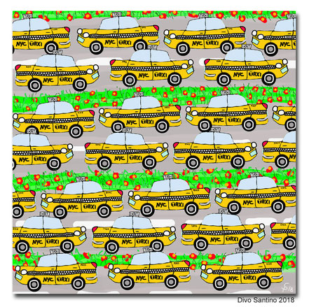 #nyc #taxi #rushhoure #verkehr #stau #city #nyctaxi #cup #car #painting #divosantino #2018 #auto