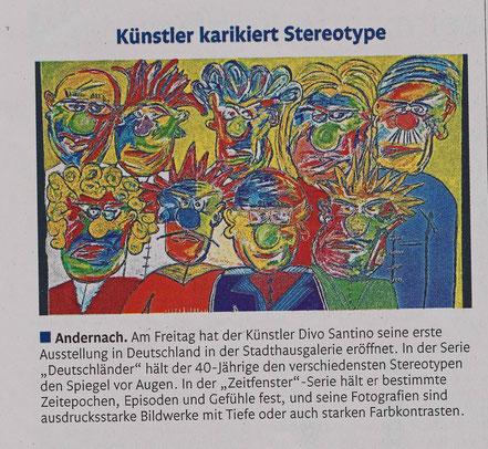 Pressebericht, Rhein Zeitung, Divo Santino, Ausstellung Andernach, Vernissage