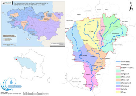 Localisation du bassin versant Ellé-Isole-Laïta