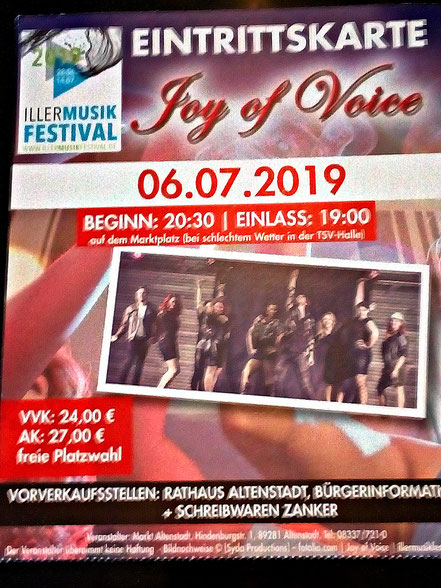 Eintrittskarte Konzert Joy of Voice