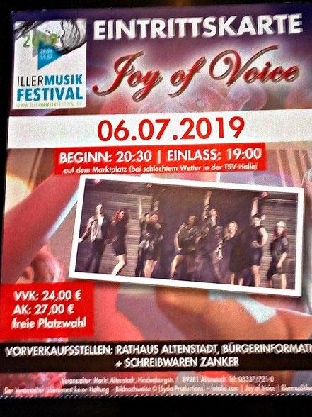 Eintrittskarte Konzert Joy of Voice