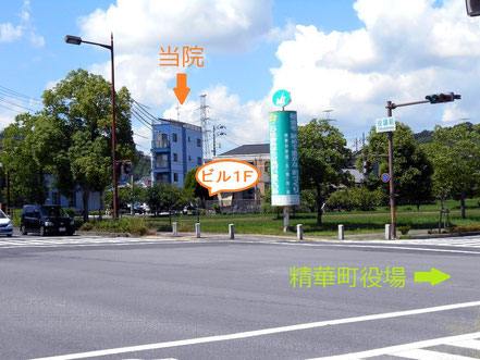 """(4)""""役場前""""交差点から見える青いビル1Fが当院です"""