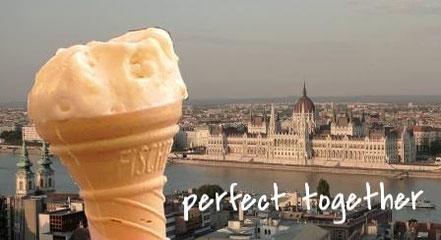 Parlamentsgebäude in Budapest und Eistüte