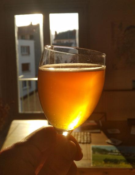 Verre contenant de la Bière Blonde au Miel de Manuka