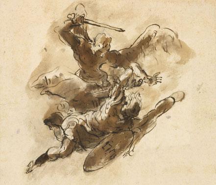 RCIN 907047 St Michael driving out Satan and his angels.  Um 1720 Schwarze Kreide, Feder und lavierte Tusche, Blattmaße 154 x 183 mm