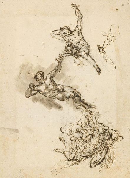 RCIN 907048 St Michael driving out Satan and his angels. Um 1720. Schwarze Kreide, Feder und lavierte Tusche, Blattmaße 252 x 184 mm