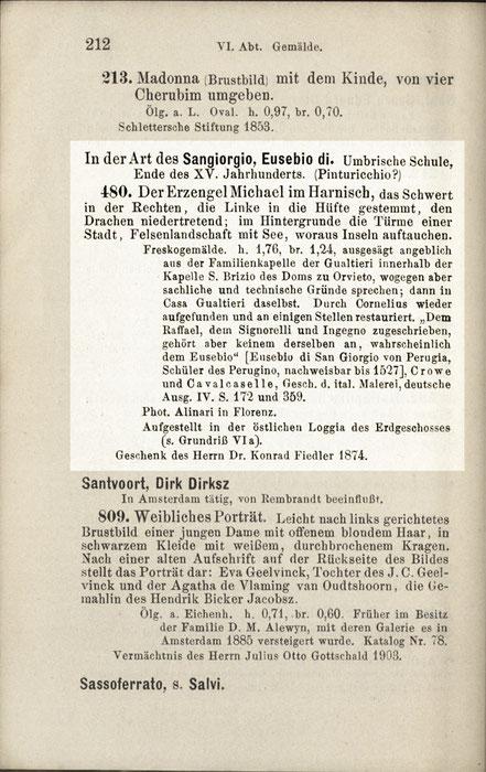 Verzeichnis der Kunstwerke im Museum der bildenden Künste zu Leipzig. Leipzig, Breitkopf & Härtel, 1903, S. 212