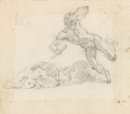 RCIN 907050 St Michael driving out Satan and his angels. Um 1720 Schwarze Kreide, Blattmaße 167 x 191 mm