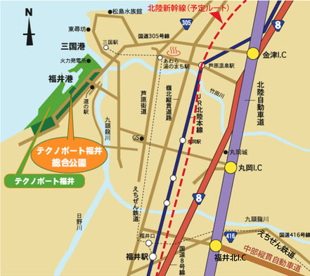 テクノポート福井総合公園周辺地図