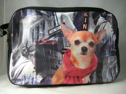 Umhängetasche Chihuahua Motiv , Hundetasche Chihuahua,Chihuahuahalstuch,college schultertasche
