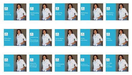 Eine Übersicht verschiedener Themen des Marketing Zooms von Dagmar Heib, um die Vielfalt zu zeigen.
