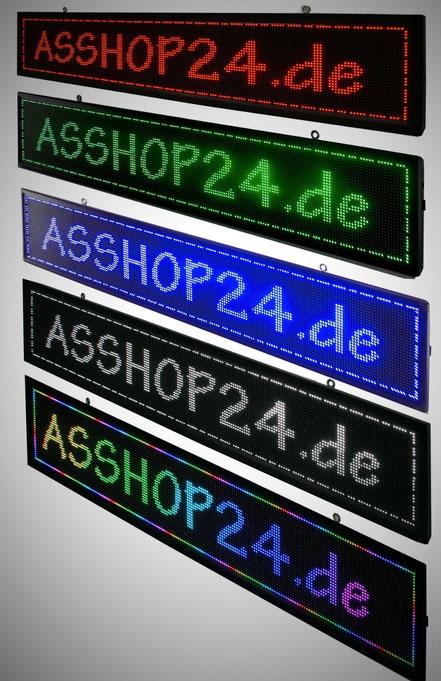 LED-Laufschriften: rot, grün, blau, weiß, RGB