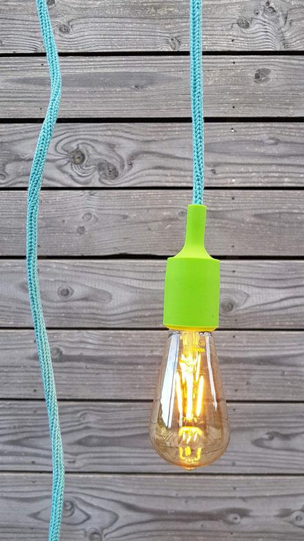 baladeuse tricotin céladon mint et cache douille silicone vert pomme éclairage luminaire nomade