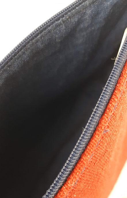 pochette zippée rouge gris marine argenté, vlslc, vallaosurlacolline, val lao sur la colline