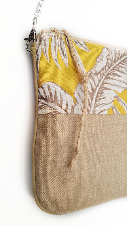 pochette zippée jacquard jaune feuillage lin simili, vlslc, vallaosurlacolline, val lao sur la colline