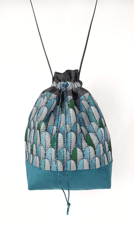 sac seau plumes de paon bleu pétrole, vlslc, vallaosurlacolline, val lao sur la colline