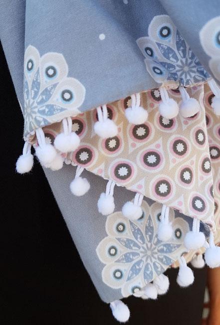 long foulard rose coton et double gaze