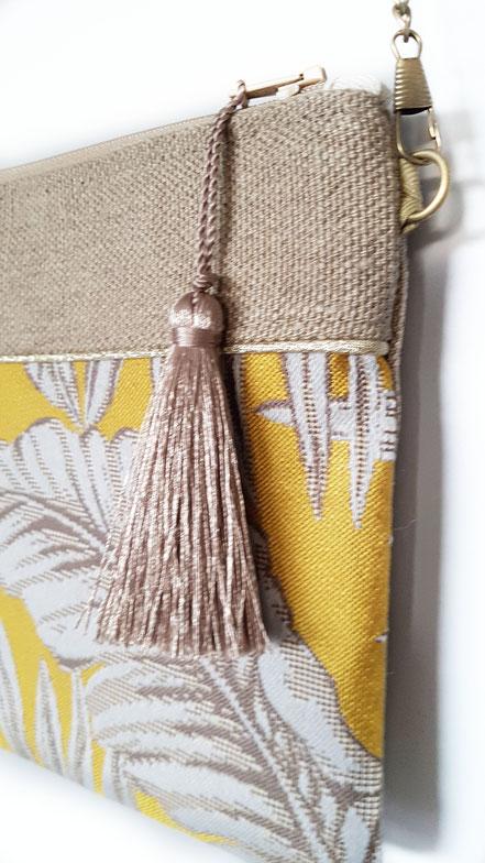 pochette zippée jacquard toile de lin, vlslc, vallaosurlacolline, val lao sur la colline