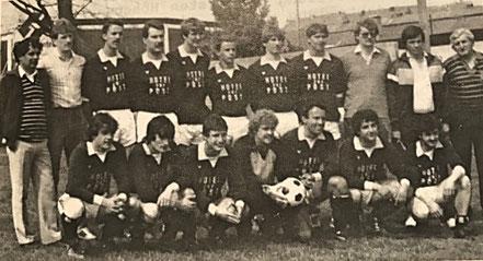 1. Mannschaft Meister 1983/84 | (stehend) K. Redel, B. Luck, R. Schneider, M. Betz, M. Michel, F. Eckel, M. Omlor, M. Heinen, A. Redel jun., M. Linz, W. Hauck | (kniend) T. Betz, W. Becker, P. Ludwig, M. Frisch, H. Fickinger, K. Wittling, M. Fischer