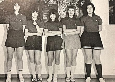 Mädchenmannschaft 1973 | Martina Hornef, Katja Funk, Christel Wirth, Franziska Seel, Jutta Schneider