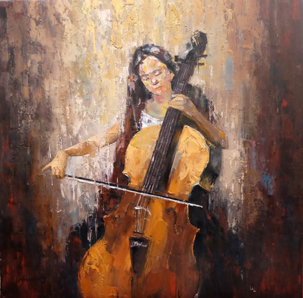 "Ölgemälde ""Girl with Cello"" 120cm * 120cm"