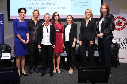 Women Leadership Forum 2015_Mag. Tatjana Oppitz, IBM; Mag. Karin Zipperer, Hafen Wien; Mag. DI Dr. Brigitte Bach, AIT; Marie Bysveen, SINTEF; Michaela Leonhardt, Ph.D., APG/ femOVE; Mag. Ulrike Huemer, Stadt Wien; Mag. Michaela Huber, OMV