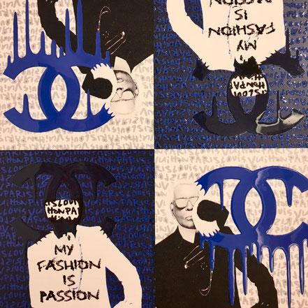 Marnali: Karl passion bue/black, 70cm x 70cm