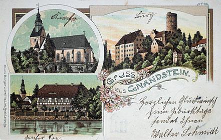 Litho Lithographie Burg Gnadstein Kohrener Land