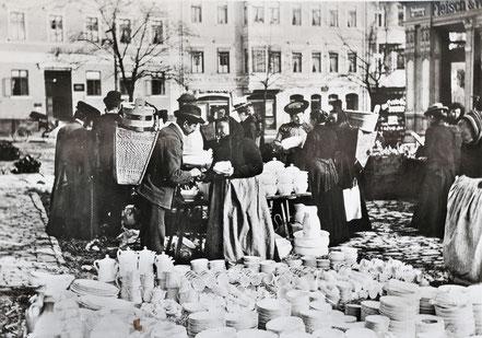 AK Weimar 1895 Topfmarkt