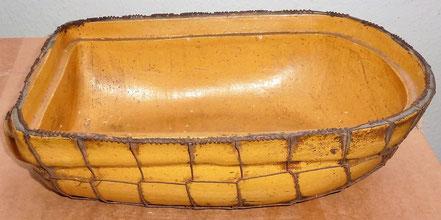 alte Kohrener Keramik Kohren-Sahlis Bleiglasur Bräter eingestrickt eingerastelt