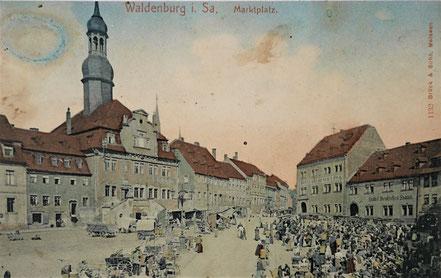 AK Wochenmarkt Waldenburg 1911