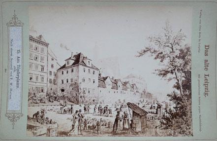 Das alte Leipzig Gemälde Am Töpferplatze  1868