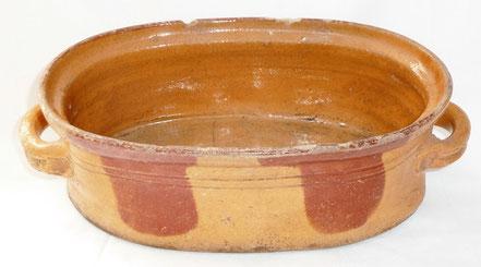 alte Kohrener Keramik Kohren-Sahlis Bleiglasur Bräter Löffelmuster
