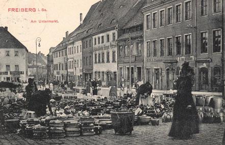 AK Freiberg Untermarkt Töpfermarkt Wochenmarkt