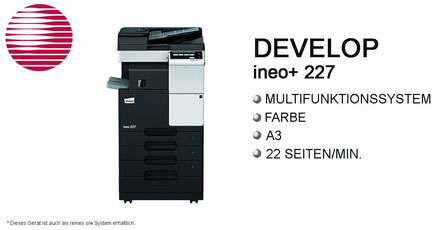 Develop ineo+ 227; ineo227; Multifunktionssystem, s/w System, Farbsystem, DIN-A3, 22 Seiten/min, Stroh, Bürotechnik Stroh, Features, Finisher, Hefter, Drucksystem, Develop, ineo, ineo+