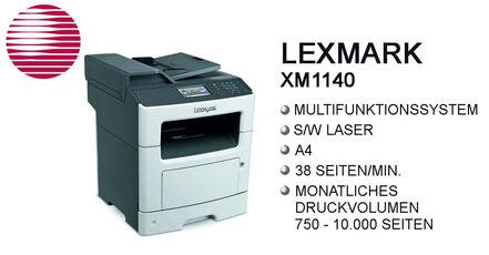 WinWin Office Network, s/w Laser, Multifunktionssystem, Laserdrucker, DIN-A4, 38 Seiten/min, Stroh, Bürotechnik Stroh, Features, Drucksystem, Lexmark, Lexmark XM1140, Moers, Duisburg, Oberhausen, Krefeld, Düsseldorf, Ruhrgebiet, Niederrhein, Büro