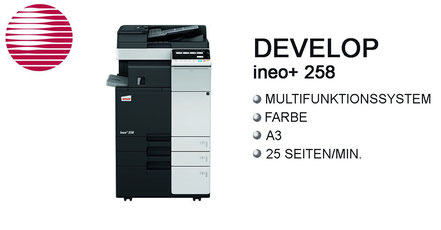 Develop ineo+ 258 ; Multifunktionssystem, s/w System, Farbsystem, DIN-A3, 22 Seiten/min, Stroh, Bürotechnik Stroh, Features, Finisher, Hefter, Drucksystem, Develop, ineo, ineo+