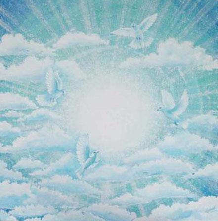 Peinture colombes bleu