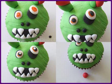 Tutoriel cupcakes les petits cornus, cake design, pâte à sucre, halloween, petits monstres rigolos