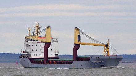 El vaixell de càrrega general Martina C, de bandera anglesa, procedent de Portoscuso, Itàlia. 29.07.16.