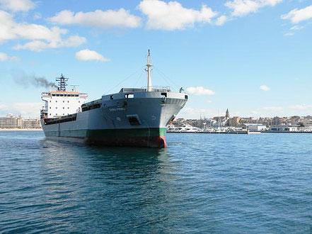 El vaixell de càrrega general Sara Prima, de bandera italiana, procedent de Castelló de la Plana i Oristano Itàlia. 18.06.16. i 16.07.16. i 01.08.16.
