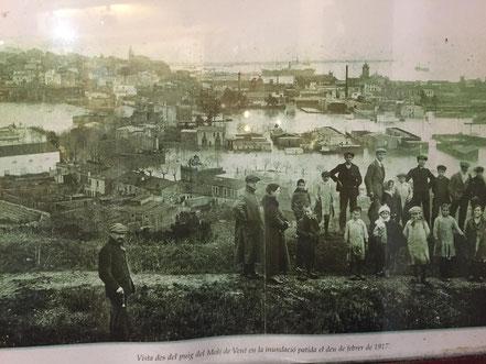 Vista des del puig del Molí de Vent en la inundació patida el deu de febrer de 1917.