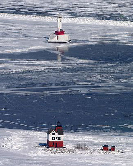 Far de Round Island, Mackinac Estret, Michigan, EUA.