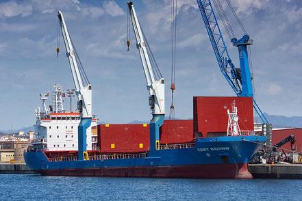 El vaixell de càrrega a granel Cdry Brown, de bandera italiana, procedent de Piombino, Italia. 25.03.17 i procedent de Catelló de la Plana 12.04.17.